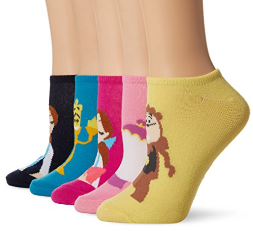 Disney Women's Beauty and the Beast 5 Pack No Show Socks, Assorted, 9-11