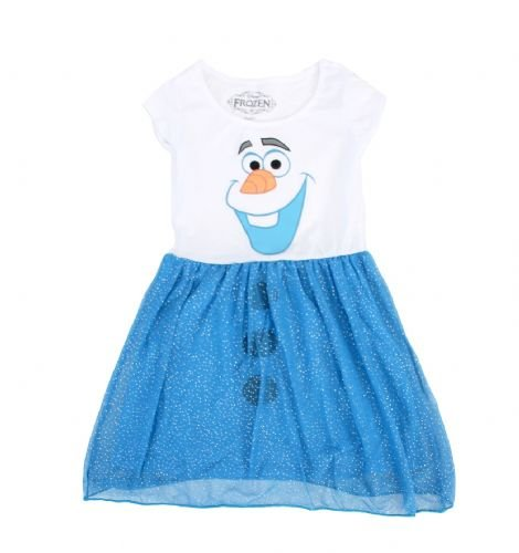 Olaf Child Costumes (Mighty Fine Disney Frozen I Am Olaf Girls Costume Glitter Dress (EXTRA SMALL))