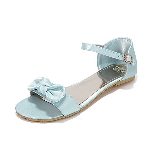 VogueZone009 Womens Open Toe Flats Suede Soft Material Solid Sandals with Bowknot Lightblue ORoYSx