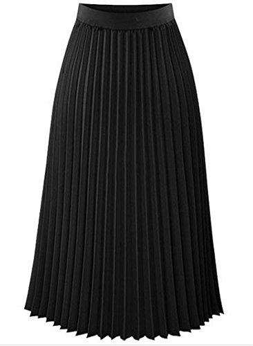ZLL Cintura faldas largas faldas primavera las mujeres en slim falda plisada de gasa vestido de mujer , s