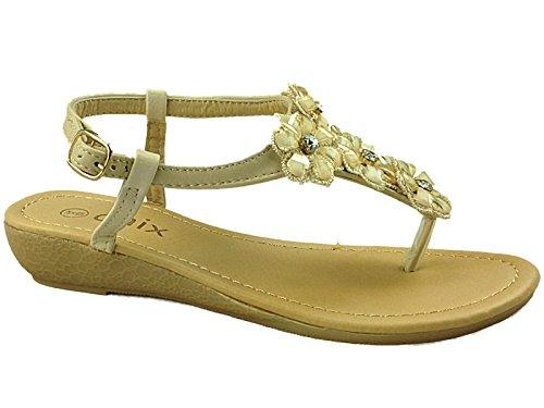 3 Sandals Ladies Stones Shoes 8 Summer Post Toe Flower Slingback Gem Fashion Chix Size 287395 Nude qvrqT4AO