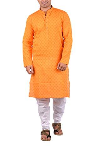 Maharaja Indian Mens Kurta Pyjama Set in 100% Pure Cotton for Daily and Festive Wear in Orange - Kurta Traditional