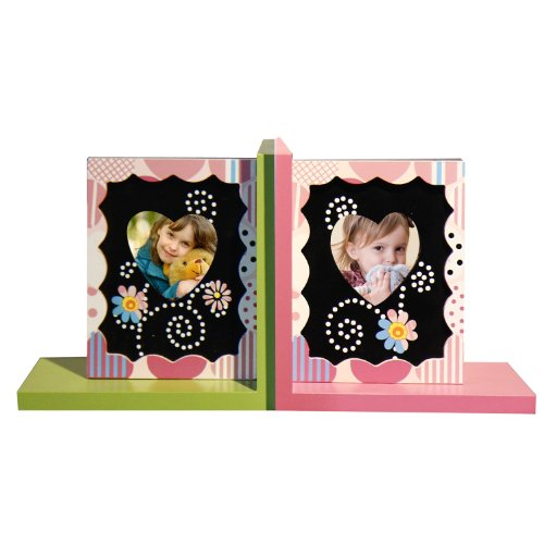 *Back-to-School Sale!* Adeco Set of 2 Decorative Child's Wood Bookends Heart-Shaped Picture Frames, Kid Bedroom, Bookshelf, Storybook