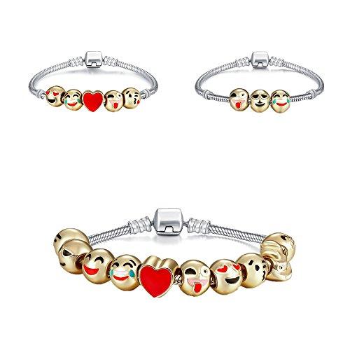 Genji-Emoji-Charms-Bracelet-18K-Gold-Plated-With-10-Pieces-Enamel-Emoji-Faces