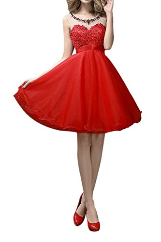 Charm Bridal Short Red Sequin Girl Summer Cocktail Homecoming Bridesmaid Dresses -14-Red by Charm Bridal