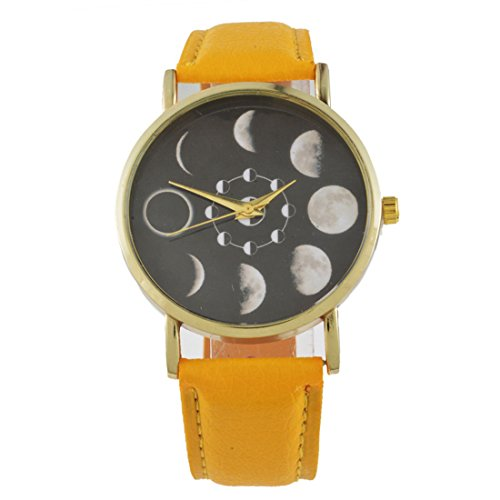 Loweryeah Mens Moon Phase Astronomy Space Yellow Artificial Leather Watch Quartz Analog Wrist Watch