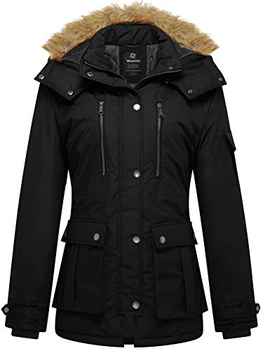 Black Winter Ski - Wantdo Women's Thickened Parka Coat with Removable Fur Hood US XX-Large Black