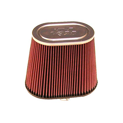 (K&N RF-1041 Universal Clamp-On Air Filter: Round Tapered; 6 in (152 mm) Flange ID; 8.5 in (215.9 mm) Height; 7.5 in (191 mm) Base; 5 in (127 mm) Top)