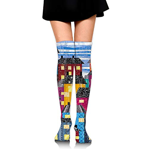 - City Design Square Pattern Cotton Compression Socks for Women. Graduated Stockings for Nurses, Maternity, Travel, Flight,Varicose Veins,Running & Fitness, Calf Support.