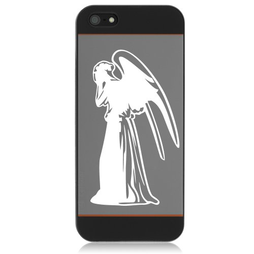 "SoCoolDesign Weeping Angel Silhouette Doctor Car Window Vinyl Decal 5"" Tall (White)"