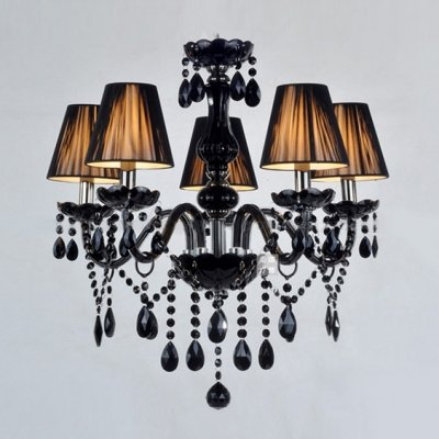 hua Charming Five Lights Jet Black Support and Crystal Strands ...
