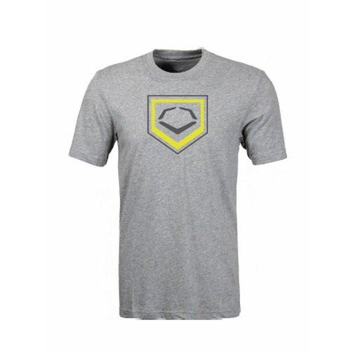 Evoshield 2色ホームプレートフラッシュ野球/ソフトボールTシャツ B01D5H9712 Small ヘザーグレー ヘザーグレー Small