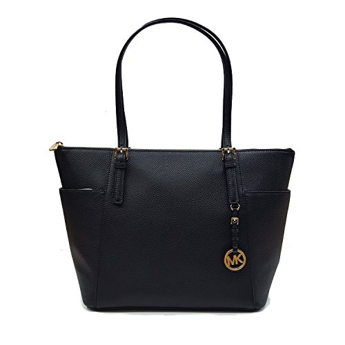 Signature Buckle Tote - Michael Kors Jet Set Top-Zip Tote Black Pebble Leather