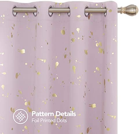 Deconovo Gold Foil Printed Blackout Curtains Light Filtering Drapes with Dots Pattern Curtains for Window Blackout Curtains for Living Room Grommet Top Curtains 52Wx 95L Inch Pink Lavender 1 Pair