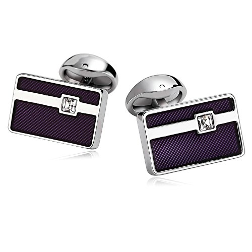 Epinki Stainless Steel Cufflinks for Men Unique Business Wedding Rectangle Lines Crystal Pierced White