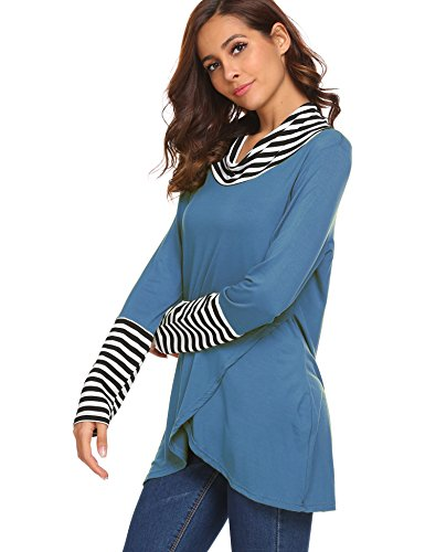 Striped Dog Tank (Women's Tops Long Sleeve Striped Scoop Neck A-Line Tunic Blouse Teal,XXL)