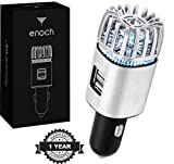 electric air freshener for car - Enoch Car Air Purifier with USB Car Charger 2-Port. Car Air Freshener Eliminate Odor, Dust, Pollen, Bacteria, Removes Cigarette Smoke, Pet and Food Odor, Ionic Ozone, Relieve Allergy. Color-Silver