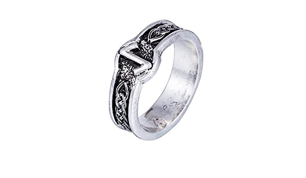 Skyrim Antique Retro Punk Style Black Amulet Norse Rune Ring For Men And Women Size 8 Amazon Com