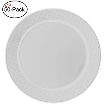 Tiger Chef 50-Pack 13 inch Round Clear Diamond Plastic Charger Plates Disposable Set of 2 4 6 12 or 24 for Parties Wedding and Special Events  sc 1 st  Amazon.com & Amazon.com: Party Disposable 20 pc Round Charger Set | 20 Charger ...
