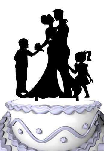 Family Silhouette - Meijiafei Family Silhouette Bride and Groom with Brother Sister Cake Topper