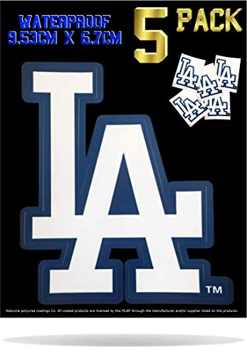 5 LA Dodgers Vinyl Decal Sticker | Waterproof Logo Decor for Cars Baseball Gear Team Helmet Cornhole Boards Hardhats Lunchbox Phone Case Laptop Wall Mug Cup Accessories Gifts for Men