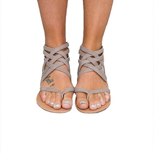 HANMAX Womens Hollow Out Thong Cross Strap Zipper Summer Gladiator Flat Sandals Gray