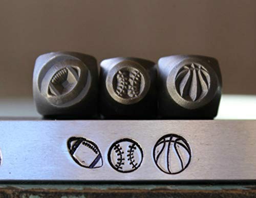 6mm and 5mm Sport (Football, Baseball & Basketball) Metal Punch Design Jewelry 3 Stamp Set