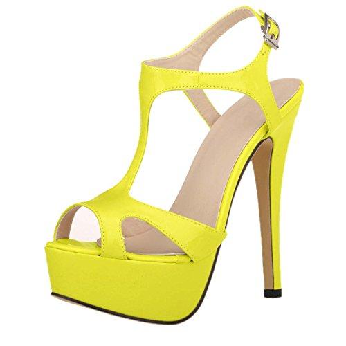 HooH Women's Peep Toe Platform Hollow Out Dress Sandals Fluorescent Yellow Bwvc3hHRGg