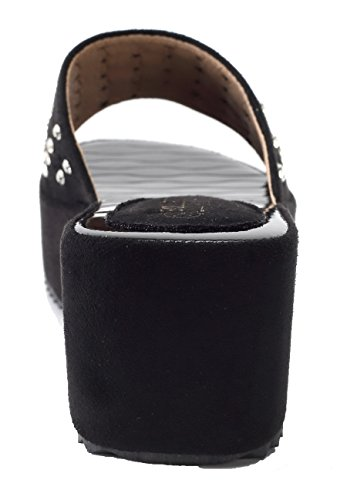 Donna Pantofole Medio EuL11 Sandali nero With AgeeMi Tacco Diamante Shoes fFTpWw7c