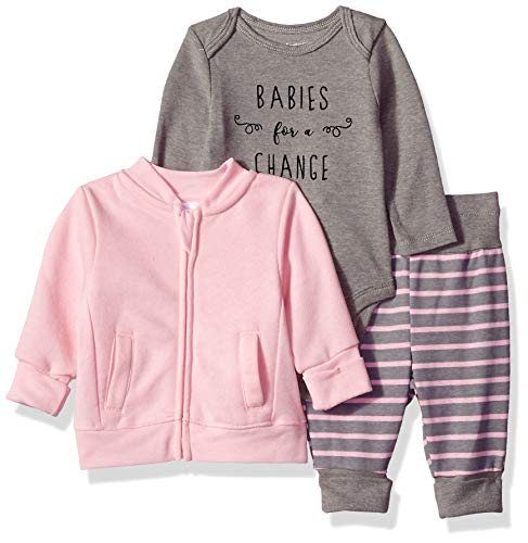 Hanes Ultimate Baby Flexy Jogger with Long Sleeve Bodysuit and Fleece Jacket, Purple Stripe, 6-12 Months