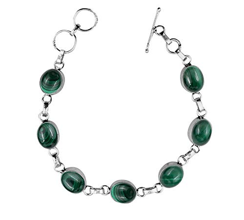 Genuine Oval Shape Malachite Link Bracelet 925 Silver Overlay Handmade Vintage Bohemian Style Jewelry for Women Girls ()