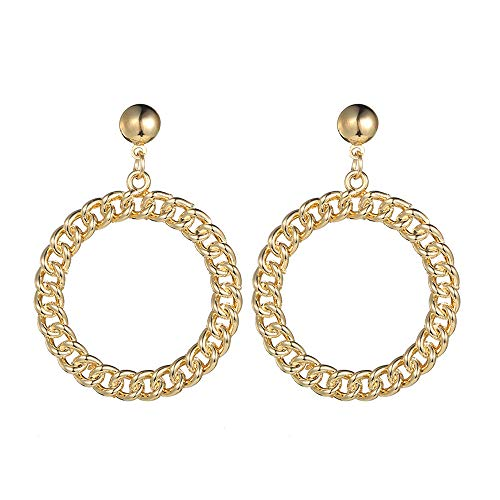 Chain Link Double Circle (Modern Large Link Chain Circle Gold Earrings Chic Women Earrings Jewelry)