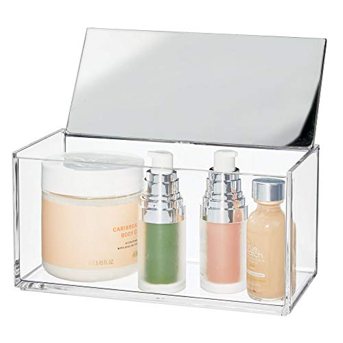mDesign Large Makeup Organizer Box, Decorative Mirror Lid for Bathroom Vanity Countertops, Cabinet - Store Makeup Brushes, Eye Shadow Palettes, Lipstick, Lip Gloss, Jewelry - Plastic - Clear/Chrome