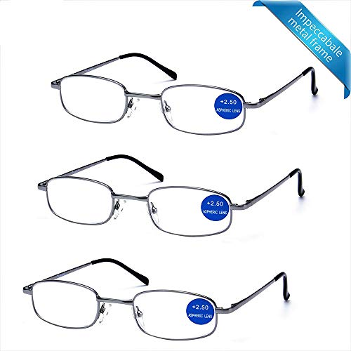 IMPECCABLE METAL frame and crystal clear vision - Viscare 3-Pack Men Women Metal Spring Hinged Full Frame Reading Glasses Readers w/ 3 pouches 1 Cloth +2.50