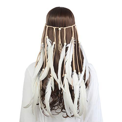 Boho Headdress Feather Headband Accessories - AWAYTR Gypsy Indian Hair Headwear Fancy Headpieces For Women ()