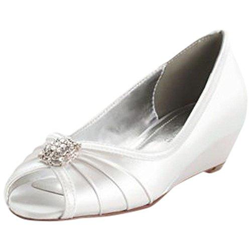 Dyeable Wedge Peep Toe with Rhinestone Ornaments Style Kelsey, White, (Satin Sandal Rhinestone Ornament)