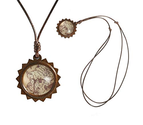 Glasscase The Lord of The Rings Map of Middle Earth Custom Fashion Photo Wooden Round Glass Sun Pendant Necklace Jewelry