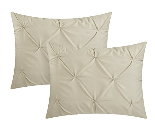 Chic Home Hannah 10 Piece Comforter Complete Bag Pinch Pleated Ruffled Pintuck Bedding with Sheet Set and Decorative Pillows Shams Included, King, Taupe by Chic Home (Image #2)