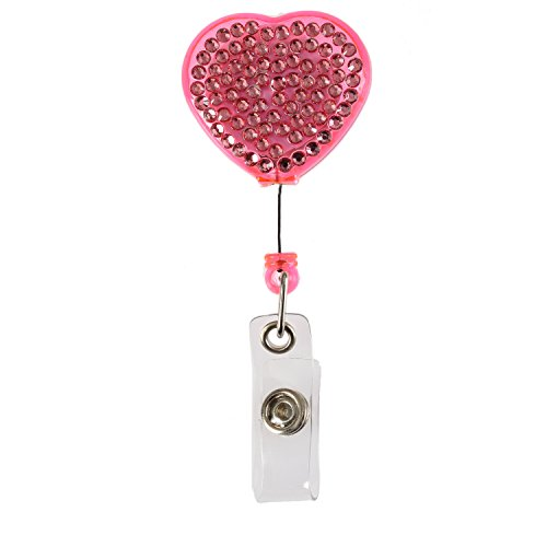 Purely Handmade Fashion Retractable Pink Heart Bling Crystal Badge Reel Cute Rhinestone Badge Holder Reel Clip For ID Badge Holder,24 inch Retractable Cord ()