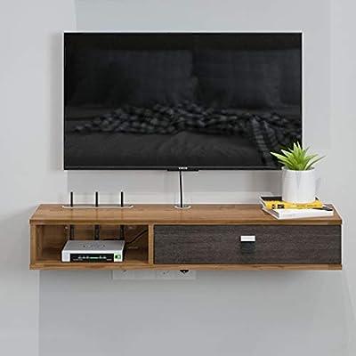 Estante Gabinete de TV flotante Repisa Estantes de pared Soporte de TV Estante colgante Gabinete de TV Consola de medios para reproductores de DVD Cajas de cable Juegos Consolas Accesorios para TV: