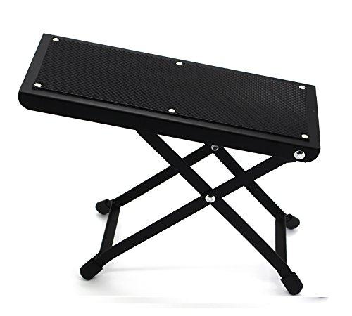 Wishing Guitar Foot Rest Guitar Footstool 4-Level Adjustable Height Folding Metal Bracket Beech Guitar Pedal (Black)