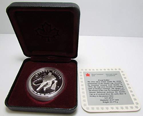 CA 1993 Canada .925 Fine Silver Dollar - Stanley Cup Hockey with COA in Original Box Proof