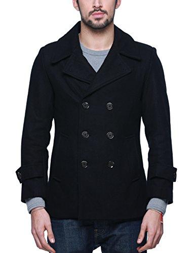 Match Mens Wool Blend Classic Pea Coat Winter Coats(010, Dark Sapphire Blue Large)