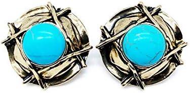 WATERMELON Clips de Oreja Redondos de Color Turquesa Vintage Pendientes Sombreros de Paja Dorados Desgastados Accesorios de joyería de Textura de Piedra Earrings
