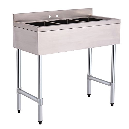 Giantex 3 Compartment Sink Stainless Steel Kitchen Commercial Heavy ...
