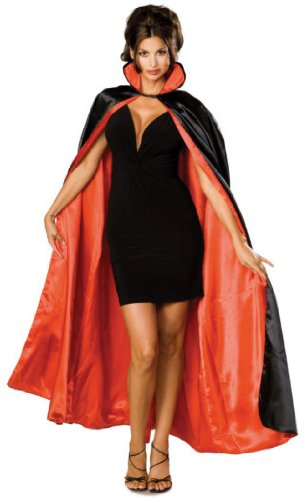 Rubie's Costume Long Satin Cape,Black/Red,One Size (Halloween Costumes With A Red Cape)