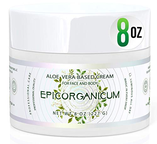 Organic Aloe Vera Moisturizing Cream - 8 oz. Body and Face Moisturizer For Acne, Psoriasis, Rosacea, Eczema, Aging, Itchy Dry or Sensitive Skin Care Cream, Skin Care Face Natural Cream (8 oz)