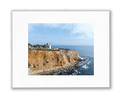 Photo Lighthouse Art (Coastal Lighthouse Wall Art, California Sea, Sand and Waves Captured In Beautiful Palos Verdes Lighthouse Picture, HD Unframed Wall Décor, 8X10 Matted Beach Print (Fits 11X14 Frame))
