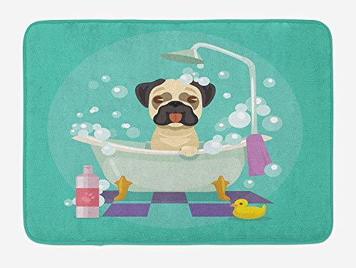 - DREAM-S Nursery Bath Mat, Pug Dog in Bathtub Grooming Salon Service Shampoo Rubber Duck Pets in Cartoon Style Image, Plush Bathroom Decor Mat with Non Slip Backing, 24 W X 16 L Inches, Teal