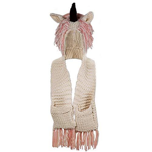 7085d1ae8e1ff ChantPower The 3-in-1 Unicorn Hat Crochet Cartoon Unicorn Winter Hat with  Scarf